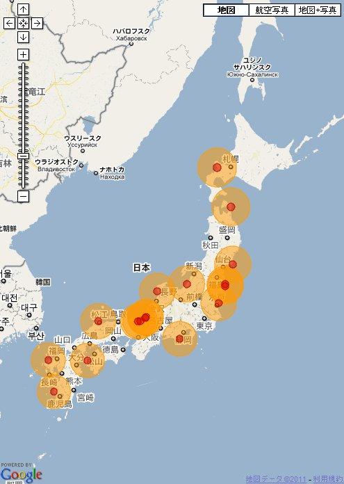 日本の原発 20-100km圏内