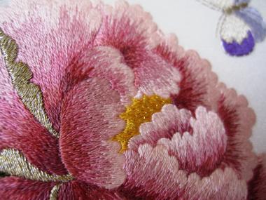 ピンクの牡丹花芯