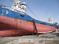 港から津波に流されて丘に登った400トンの漁船