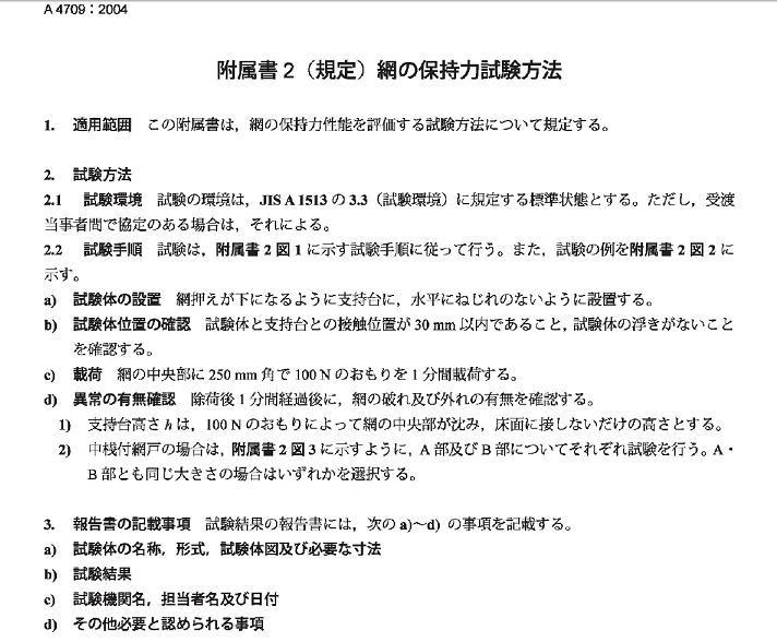 網の保持力試験方法書