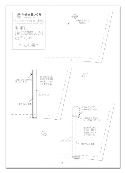 剣ボロ(袖口短冊開き)の作り方②