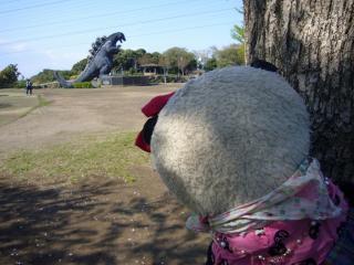 遠巻きにゴジラを見る