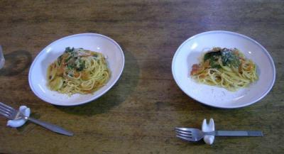 フレッシュトマトとバジルとベーコンのスパゲティ。2007.12.22