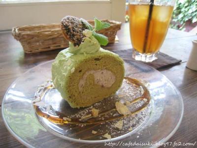 Cafe shibaken◇抹茶クリームと小豆のロール