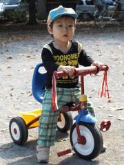 三輪車に乗る