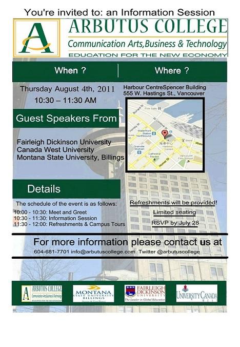 Arbutus College -Invitation Info Session