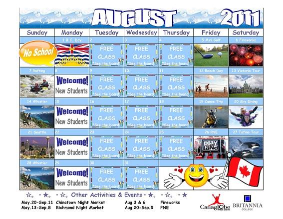August Activity Calendar 11