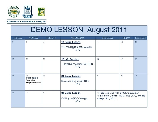 KGIC-KGIBC  Demo lesson for  August 2011