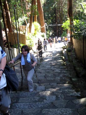 振り返ると結構急な階段:長命寺