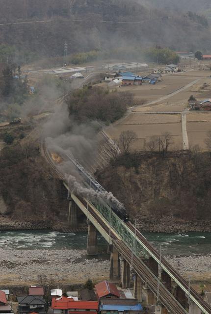 上越線 D51498 第三利根川橋梁俯瞰