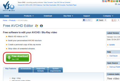 VSO AVCHD Editor ダウンロードページ