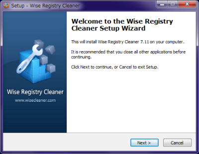Wise Registry Cleaner インストール