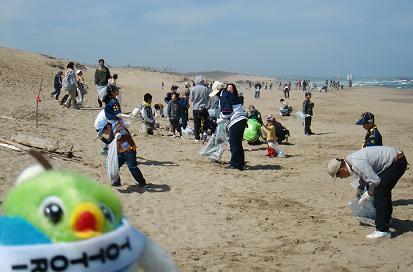 みんなで砂丘をきれいにしているよ。