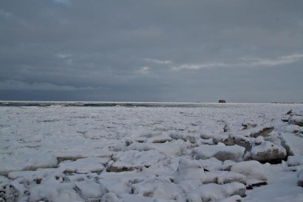 夕方撮った流氷