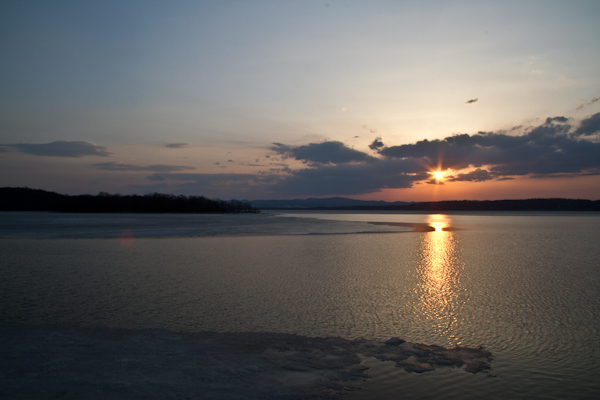 湖面も広がって  網走湖