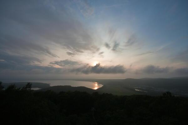網走流氷館からの夕陽