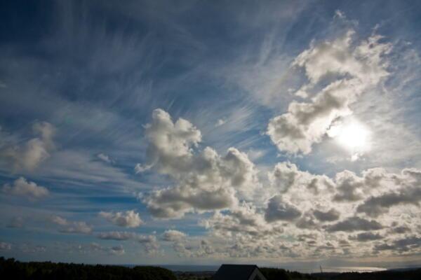 高層の雲と流れる雲