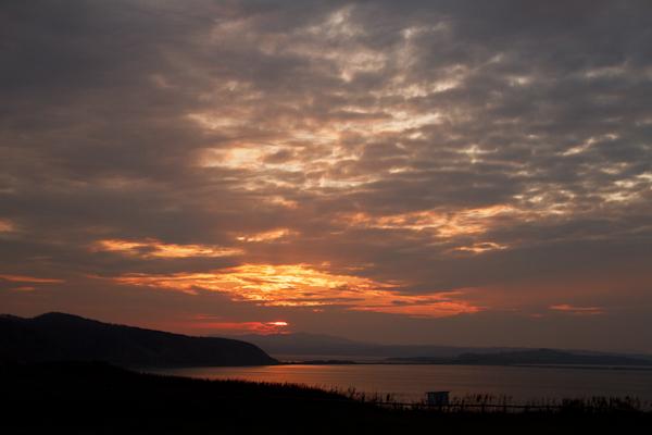 能取岬からの夕日