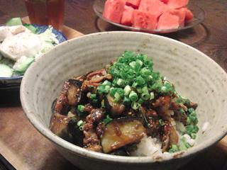 Aug09_豚肉と茄子のピリ辛味噌丼