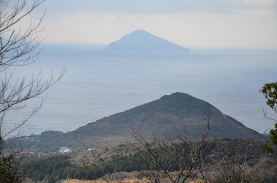 岳の平(1421年噴火 231m)と利島(508m)