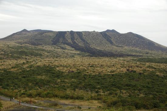 黒い筋は1986/11/19日に 山頂火口から流れ下った溶岩流