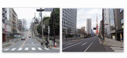三田通りから綱の手引き坂へ
