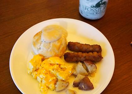 温かい朝食がうれしい