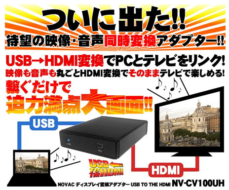 NOVAC USB to HDMI変換コンバータ USB/HDMI NV-CV100UH