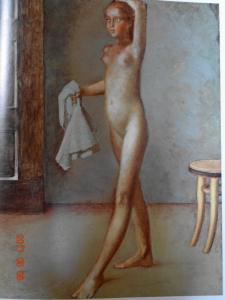 スカーフを持つ裸婦