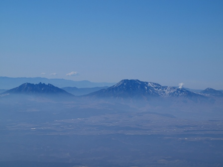 大船山山頂から根子岳高岳中岳P2213156