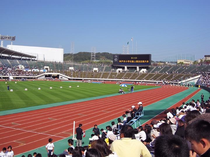 小学生陸上競技大会と鉄人ライトアップ。