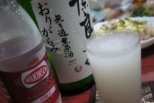 奈良萬純米生酒おりがらみで日本酒ハイボール