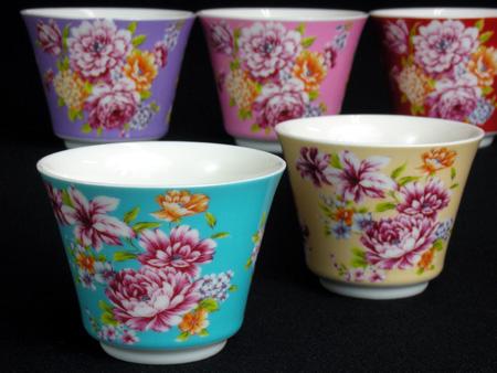 三希・台湾花布シリーズの茶器