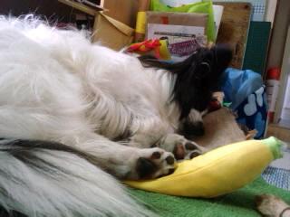 バナナをつぶして。