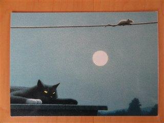 黒猫とネズミのポストカード