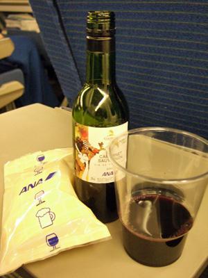 機内で乾杯