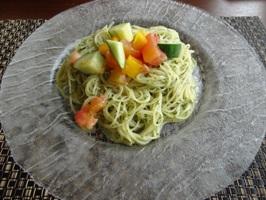 岡部さんの夏野菜と大葉のジェノバ風 冷製パスタ