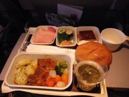 ルフトハンザドイツ航空 昼食の牛肉のシチュー