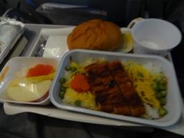 ルフトハンザドイツ航空 夕食のウナギのかば焼き