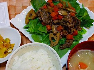 根菜と牛肉