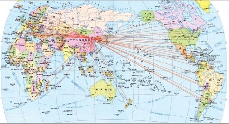 世界各地中国和平一促#36827;会分布示意#22270;