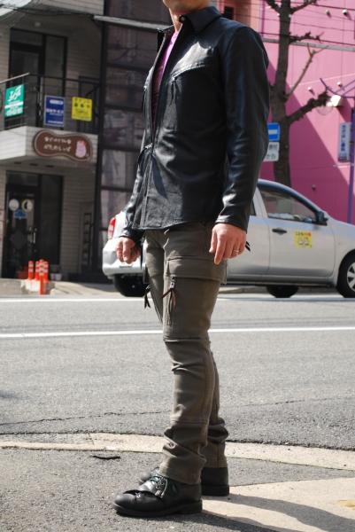 マックスフリッツ神戸 MFS-1731 ゴートレザーシャツ&MFP-1734 2ウェイストレッチカーゴパンツ