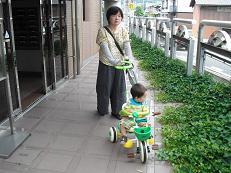1 孫と散歩