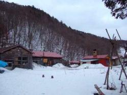 森風の周りには雪がまだ