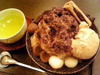 森乃園茶房 ほうじ茶かき氷と特上さえみどり茶セット