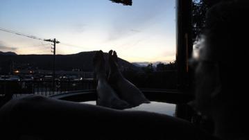 五右衛門風呂からの夕焼け