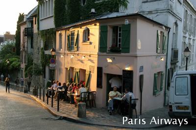 パリ カフェ 夕陽