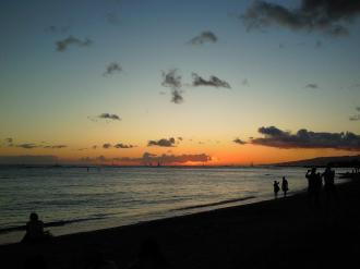 ワイキキビーチの夕焼け
