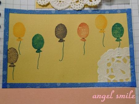 風船の「for you」はんこでカードを作りました1