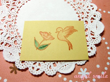 花にくる鳥のはんこ4
